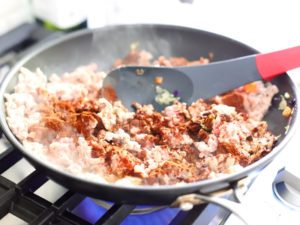 Ground turkey being cooked for Crockpot Taco Soup