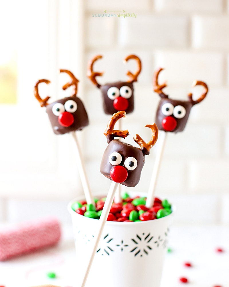 These Chocolate Covered Marshmallow Reindeer are the cutest Christmas treat! Easy to make and a merry addition to any party or playdate!