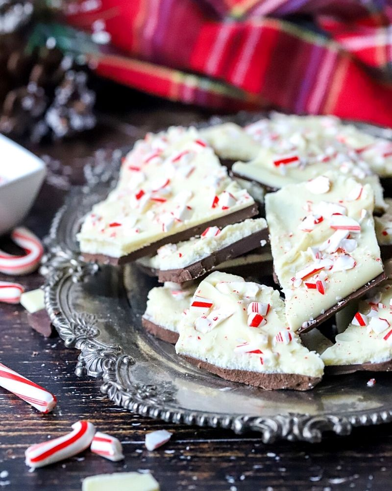 Dark Chocolate Peppermint Bark on a serving tray