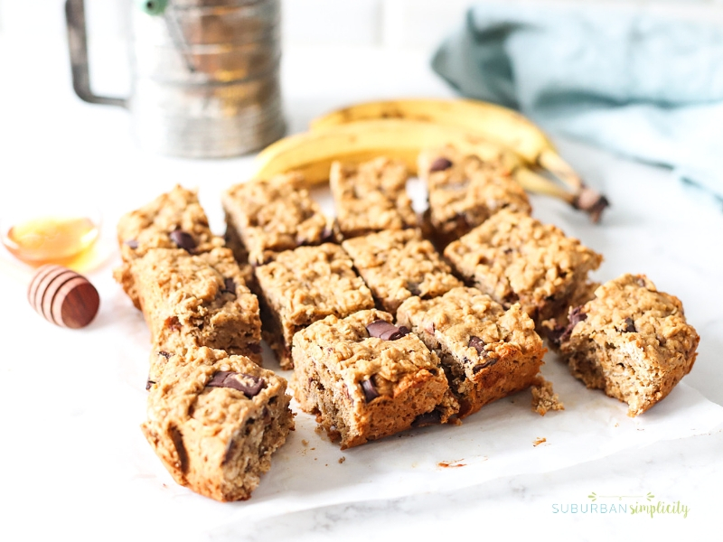 Banana Bars cut into squares.