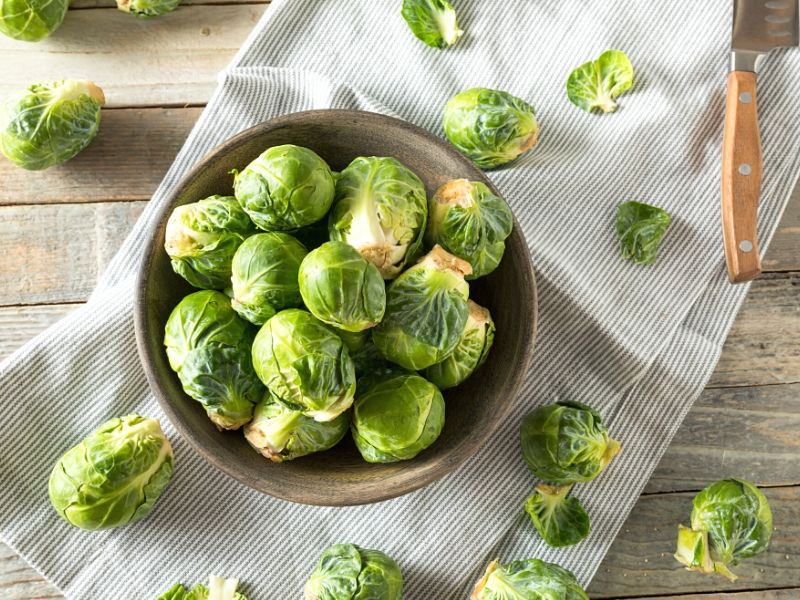 raw Brussel sprouts in a bowl