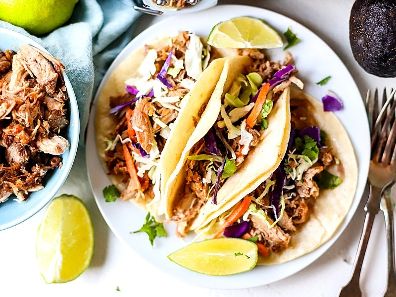 3 Crock Pot Pulled Pork Tacos on a plate.