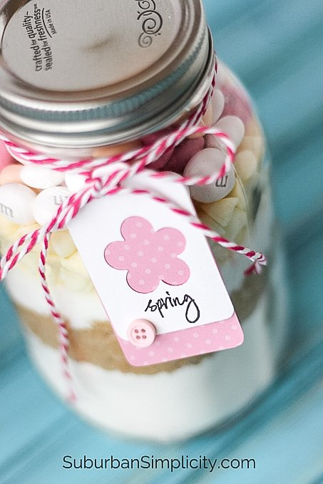 Easter cookies in a jar with a tag and bow