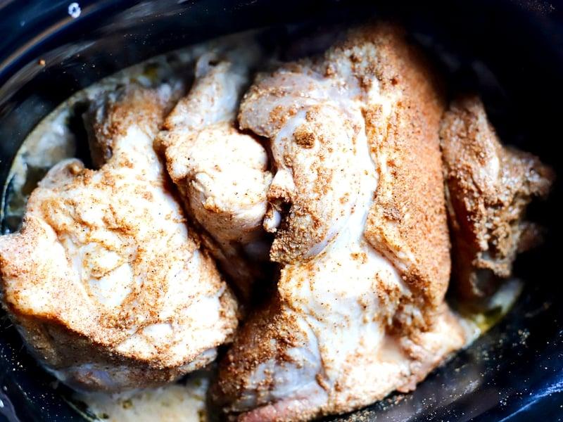 Crock Pot pulled pork being prepped for the crock pot.