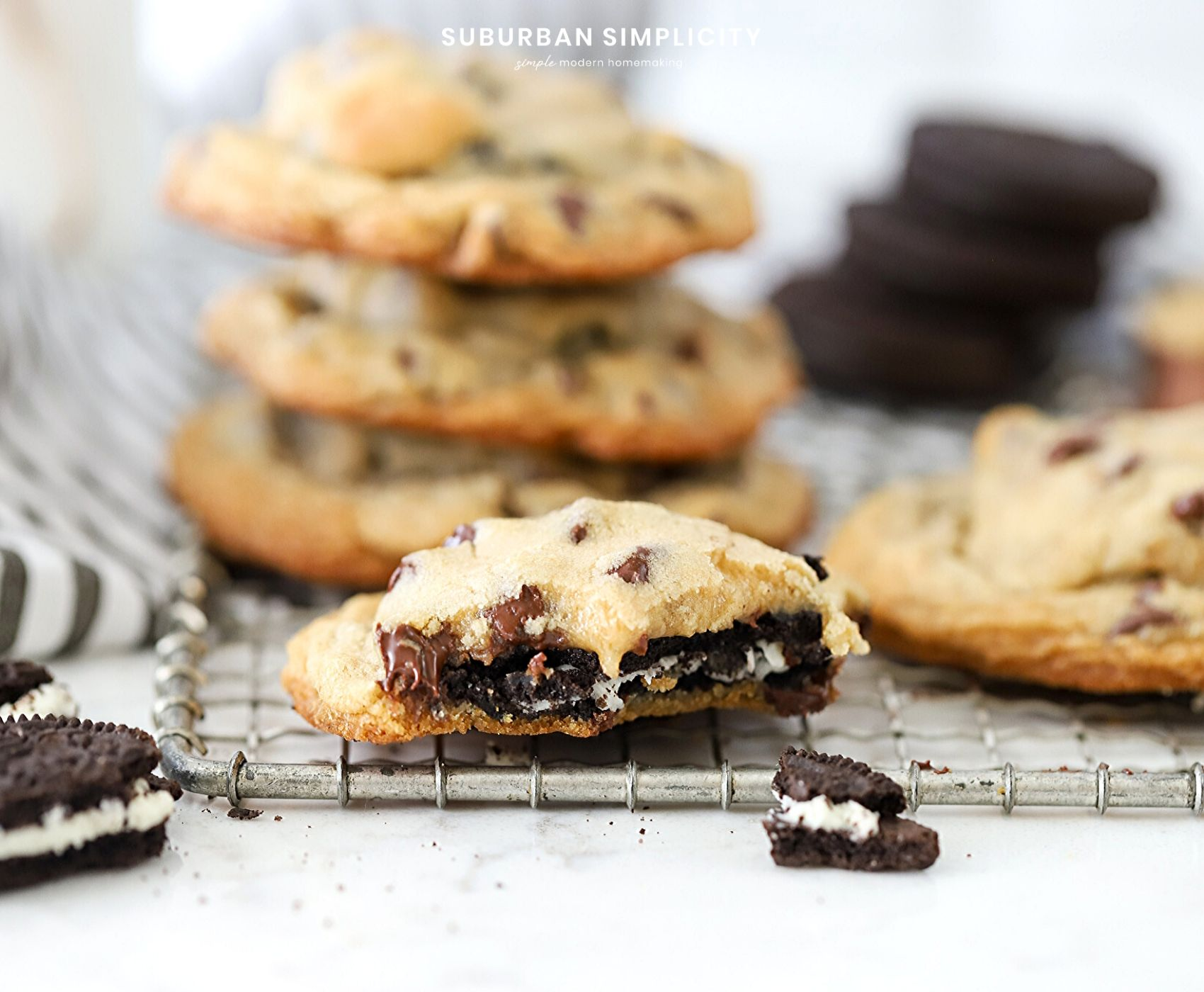 Love Oreos? Then you HAVEto try thisOreo Stuffed Chocolate Chip Cookies recipe. Delicious homemadechocolate chip cookies with an Oreo cookie nestled inside! Best Cookie Ever!