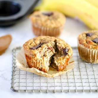 Three Banana Almond Butter Muffins