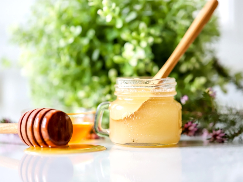 DIY Sugar and Honey Lip Scrub on counter.