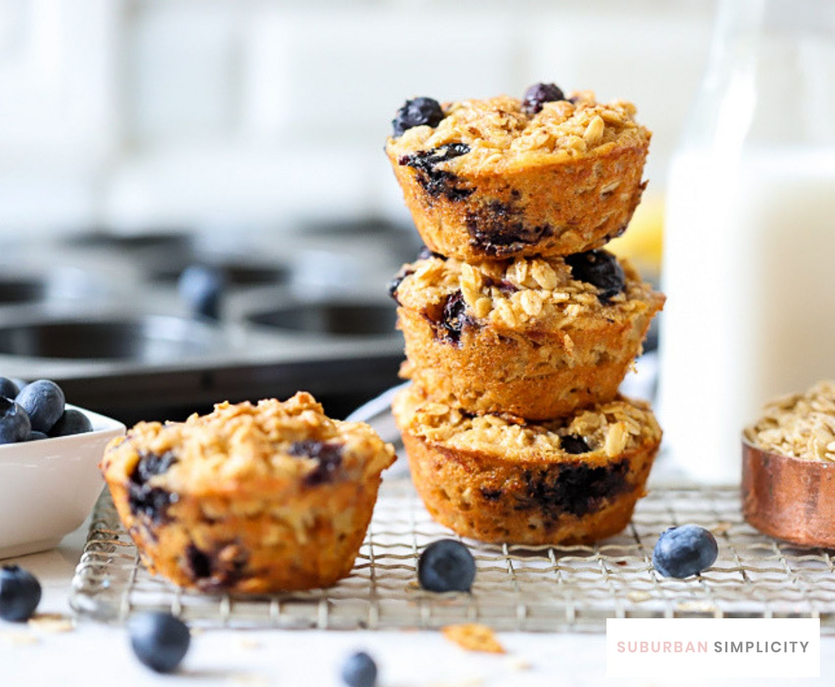 3 baked oatmeal cups stacked