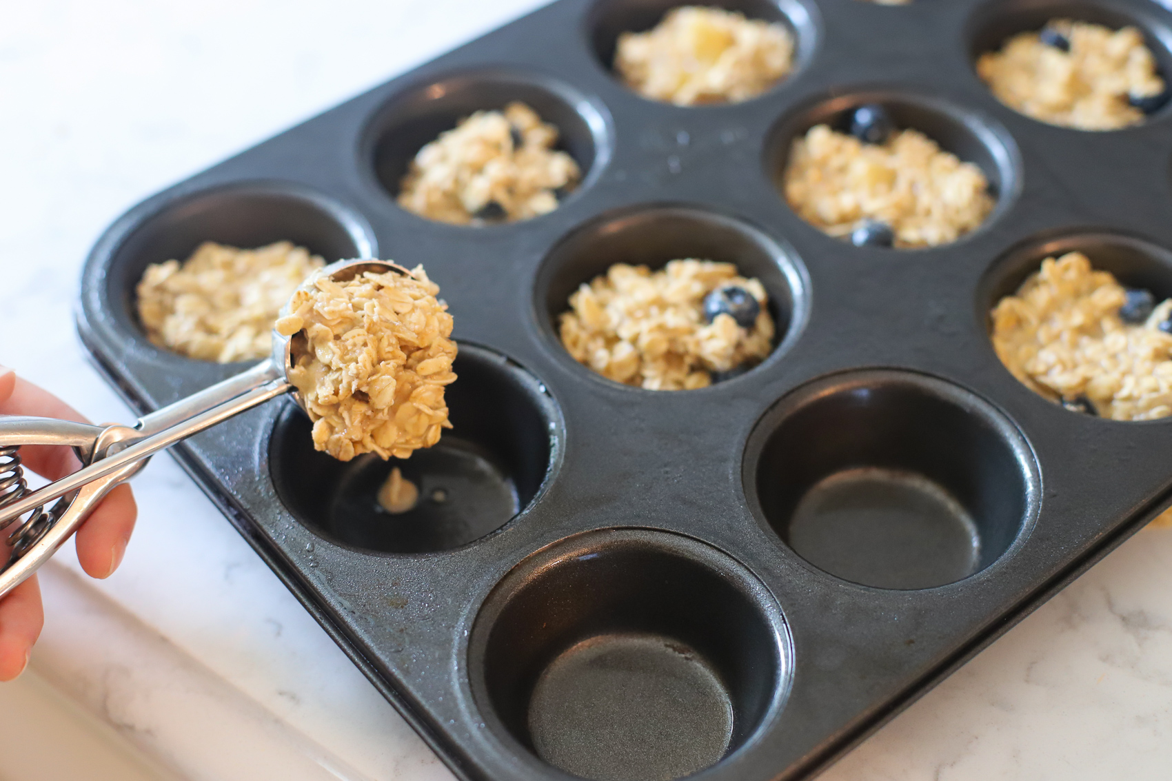 Oatmeal batter in muffin pan