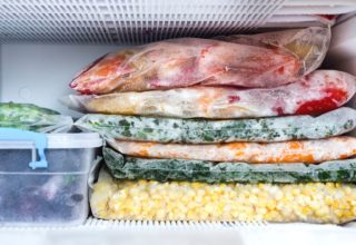 Frozen fruits and vegetables in freezer