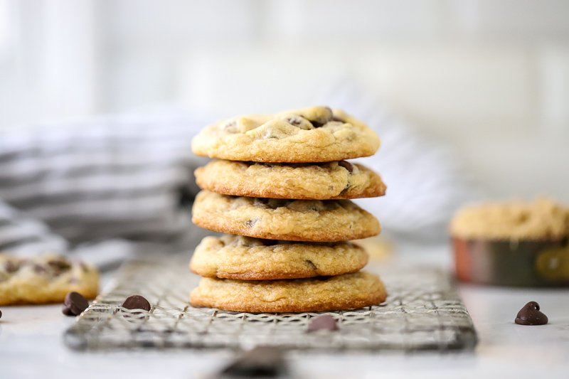 The Perfect Chocolate Chip Cookies Stacked in a pile.