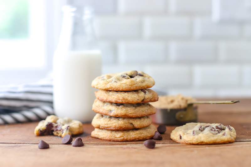 Chocolate Chip Cookies in a stack on kitchen counter.
