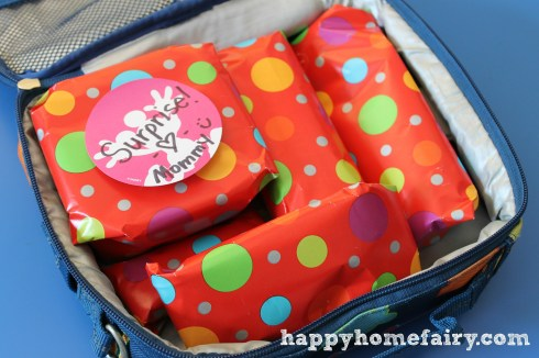lunch box with presents inside.
