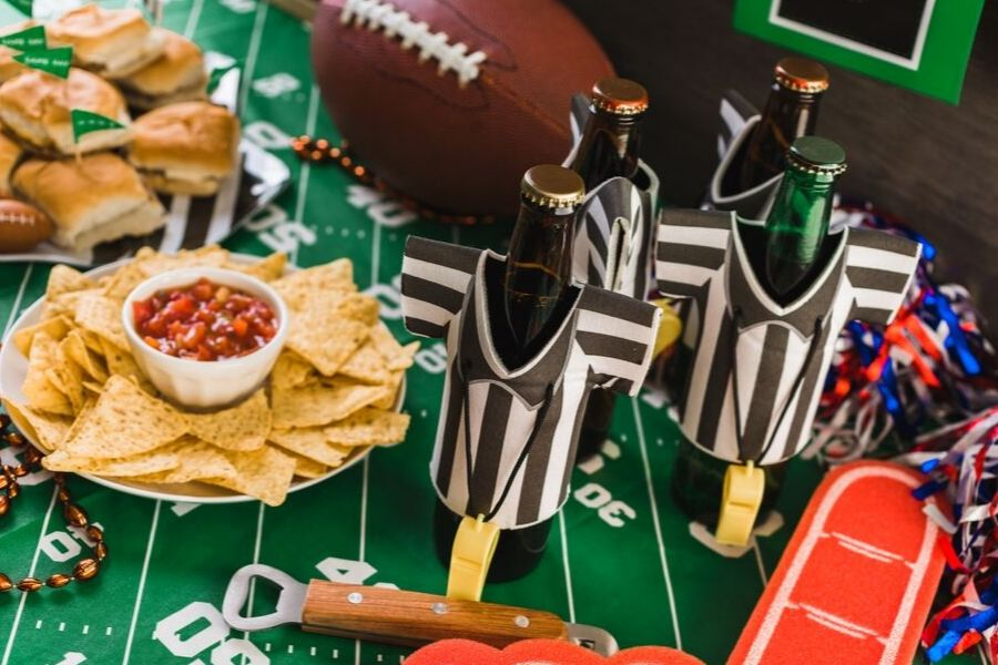 A bunch of football items that are sitting on a table