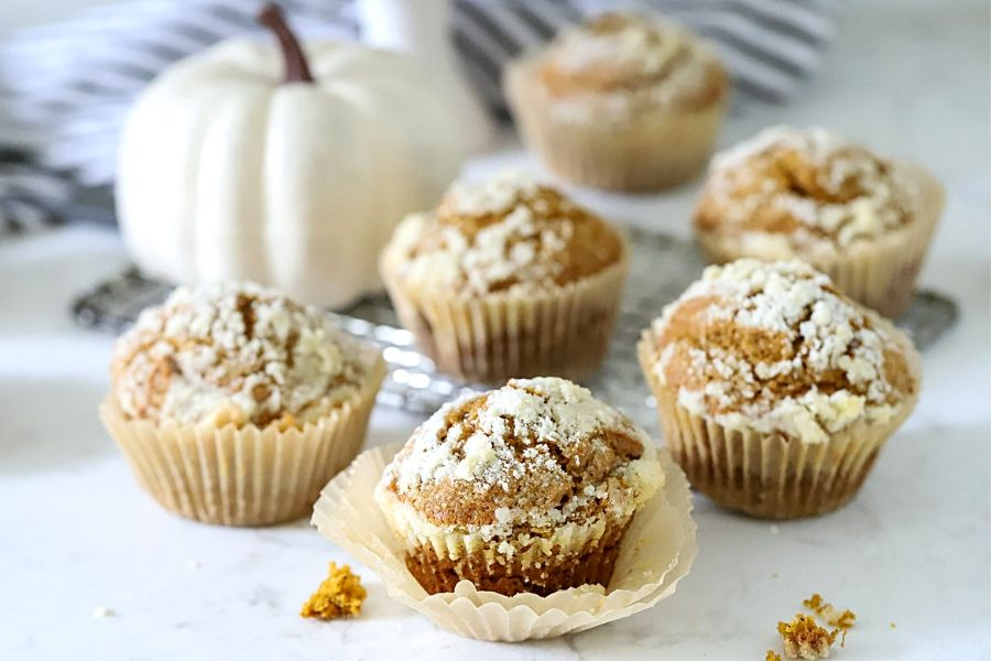 Pumpkin spice Muffins sitting on the counter