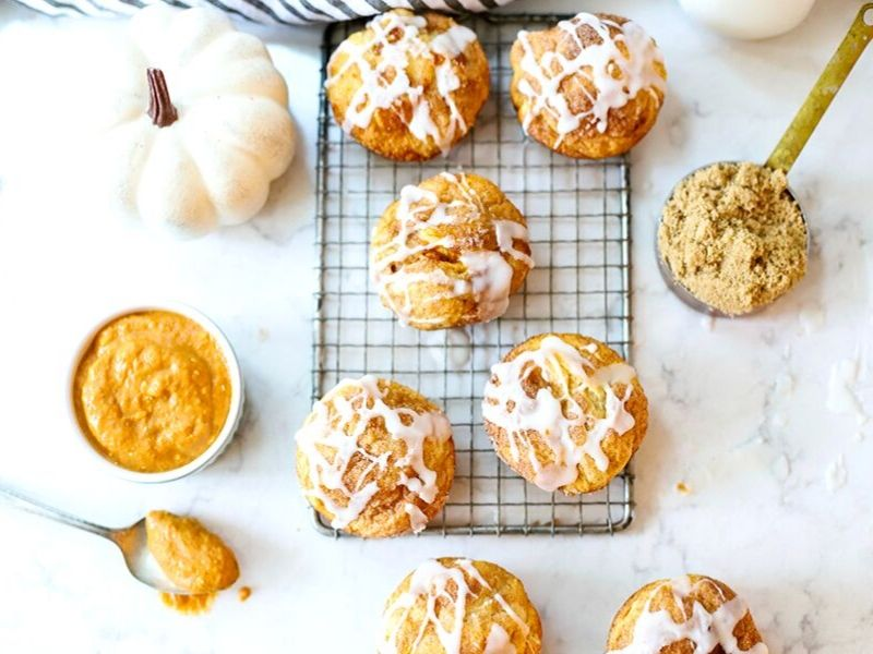 pumpkin pie bombs with icing drizzle