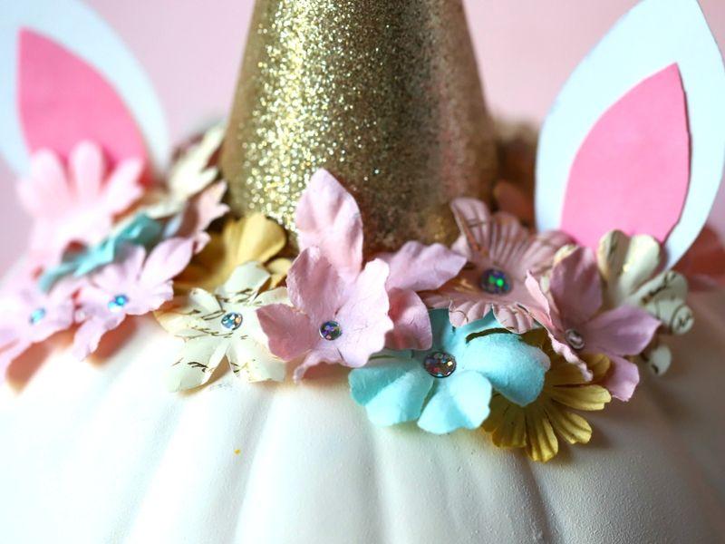 Flower crown on a pumpkin unicorn
