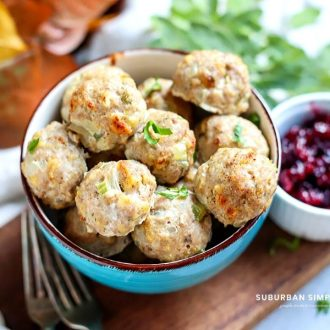 This easy Turkey Stuffing Meatballs recipe is a savory mouthful of turkey, stuffing, and spices in every bite that's good year-round!