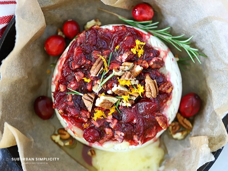 Baked Cranberry Brie plated to serve