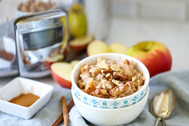 Slow cooked oatmeal in a bowl.