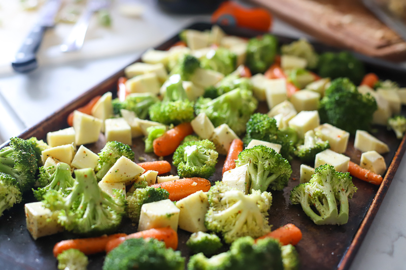 vegetables on a baking pan