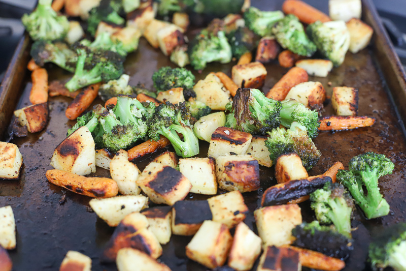 roasted vegetables on a baking pan