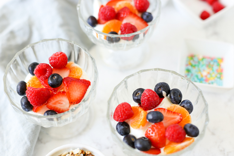 Breakfast sundae with fruit in a bowl
