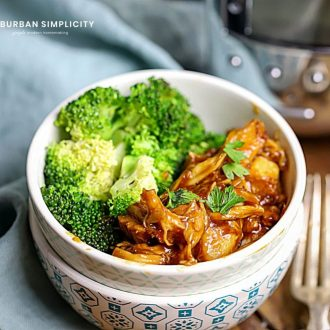Once you take a bite of this flavorful Crock Pot Honey Garlic Chicken, you're going to want to put it on your meal plan week after week. The combination of salty soy sauce, sweet honey, and spicy chili paste is perfect and makes a thick, delicious sauce to coat your chicken!