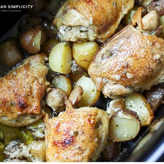 cooked chicken in the crock pot