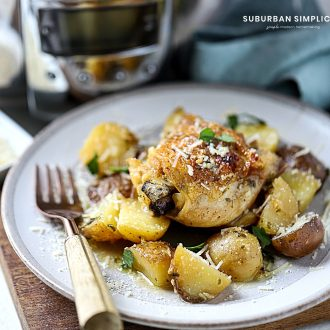 slow cooked chicken and potatoes plated