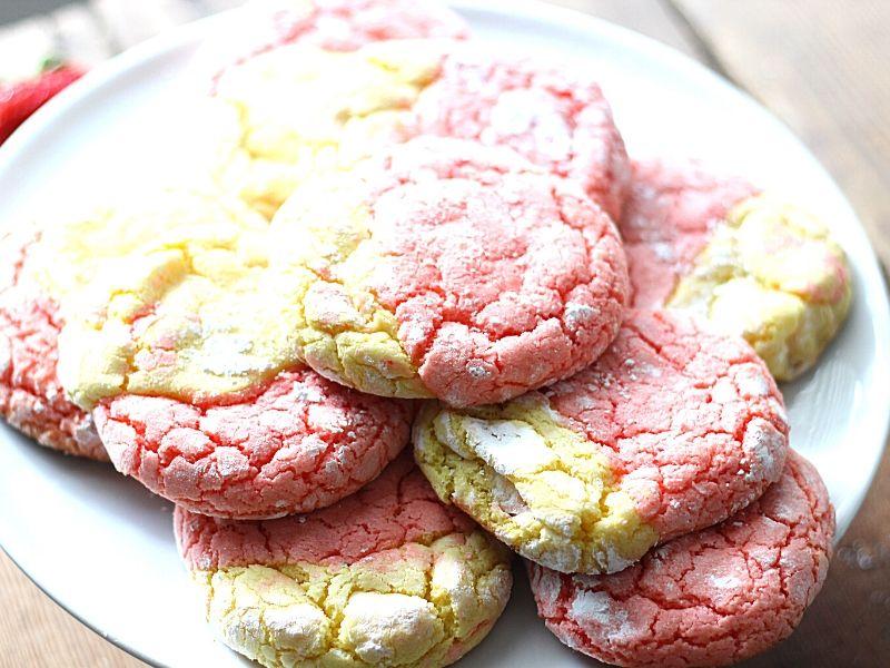 Strawberry Lemon cookies on a platter