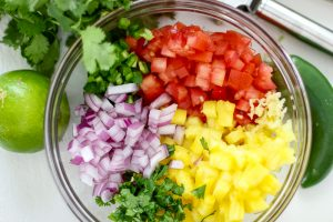 Ingredients for salsa made with pineapple