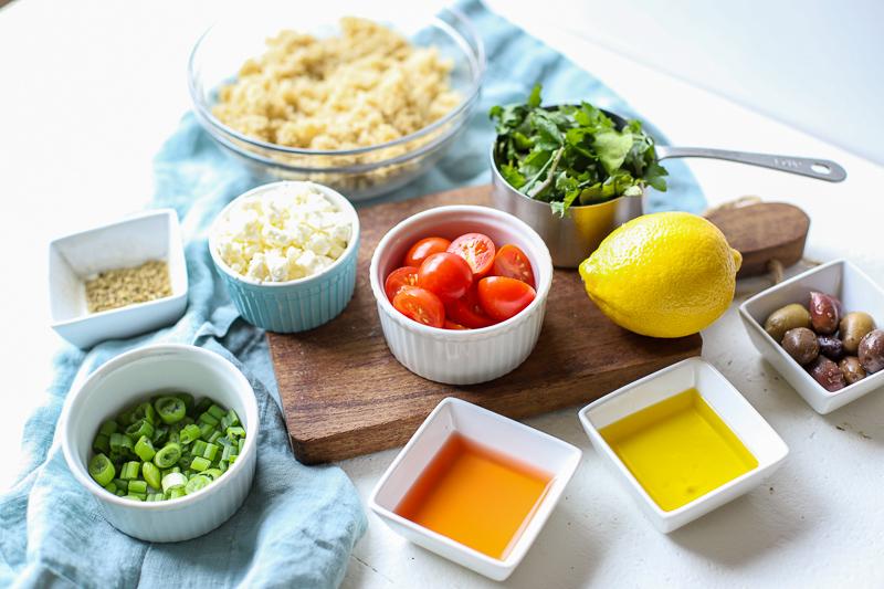 Ingredients to make Mediterranean Quinoa