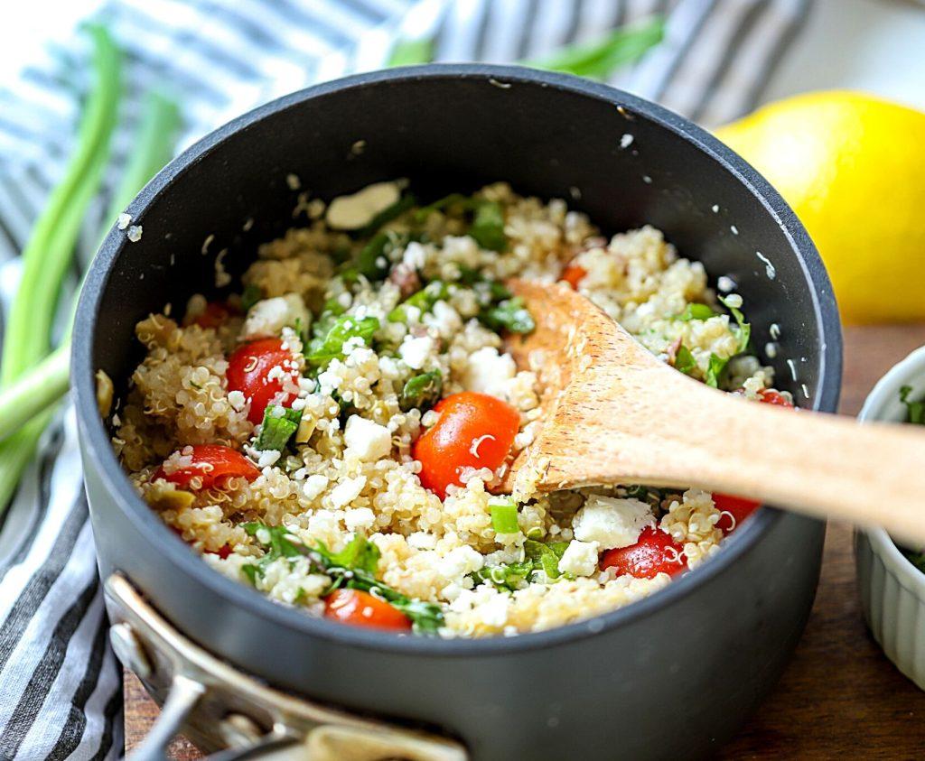 Mediterranean Quinoa salad in a pot