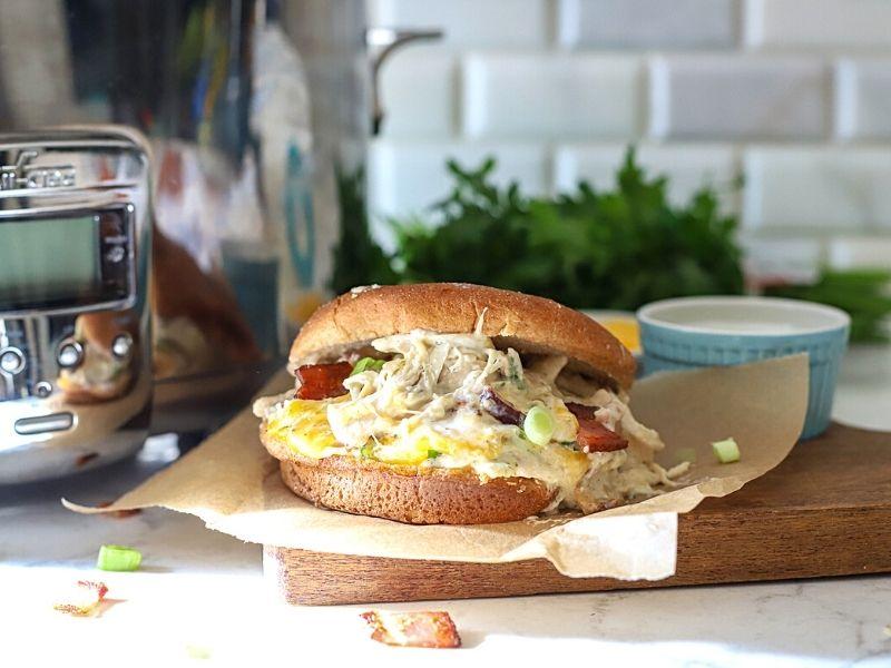 Crack chicken sandwich on the counter