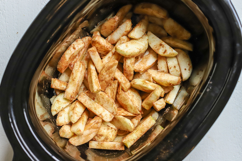 crockpot baked apples in the crock