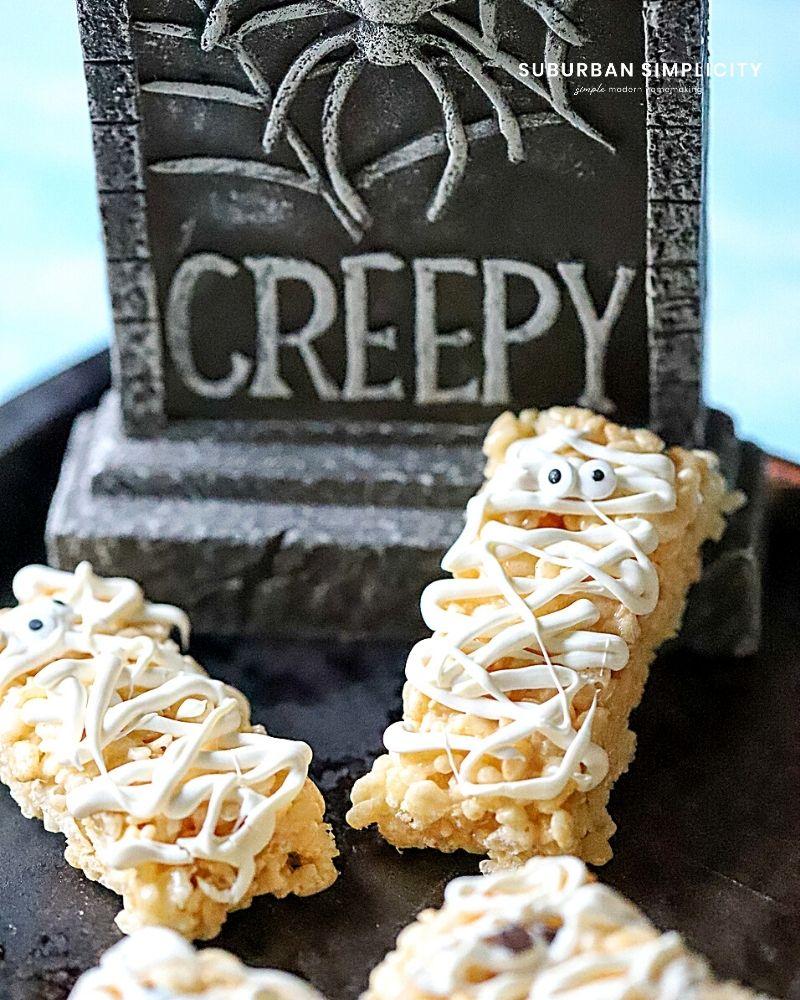 Halloween Rice Krispies on a tray
