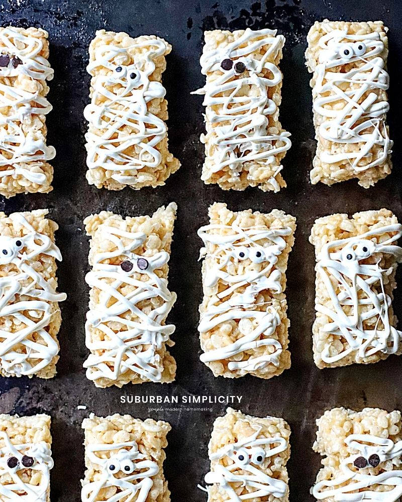 Rice Krispie Mummies on a pan