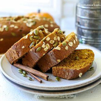 Pumpkin bread on a plate