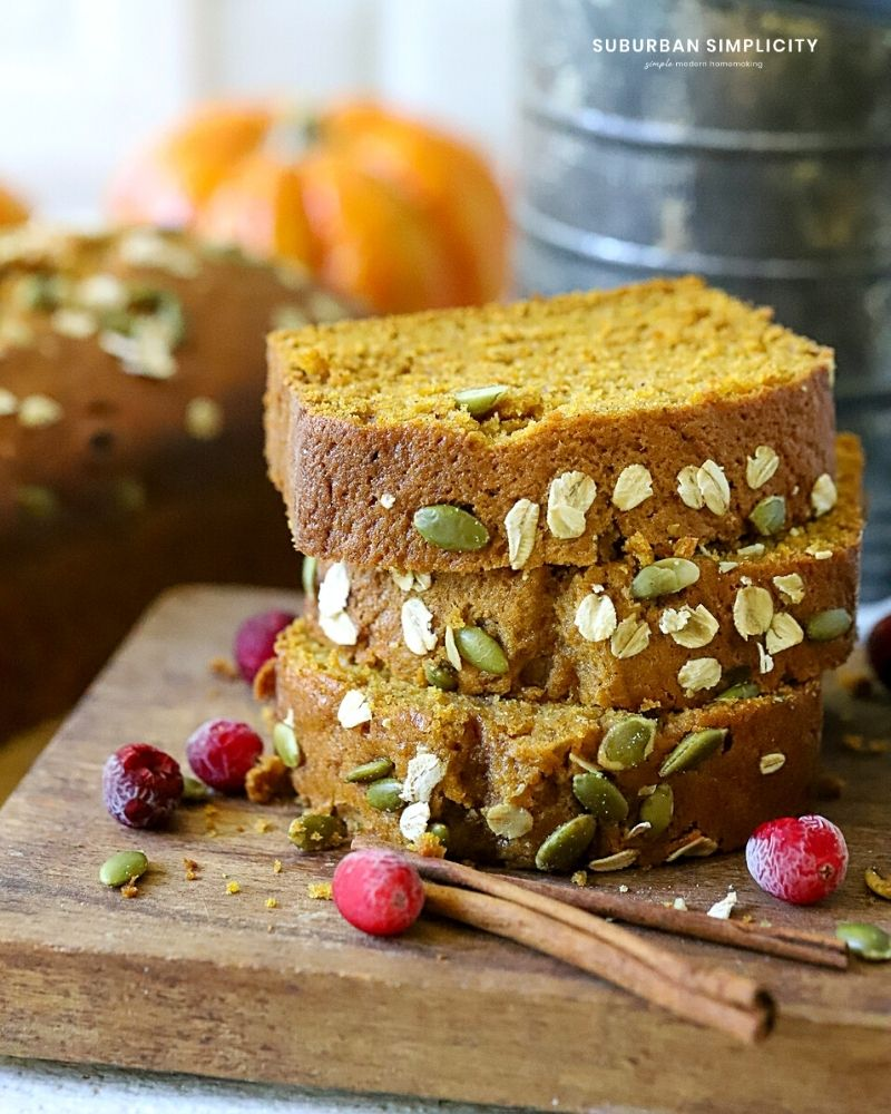 Stacked Pumpkin bread from scratch