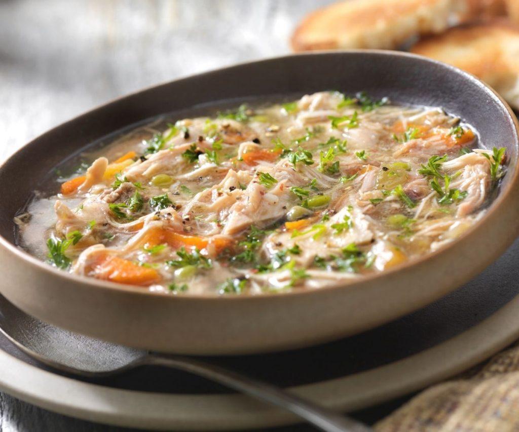 turkey soup in a bowl