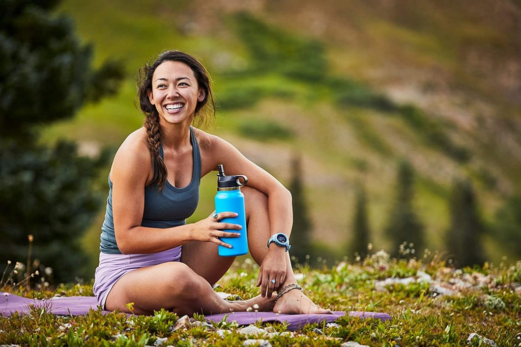 lady with hydroflask