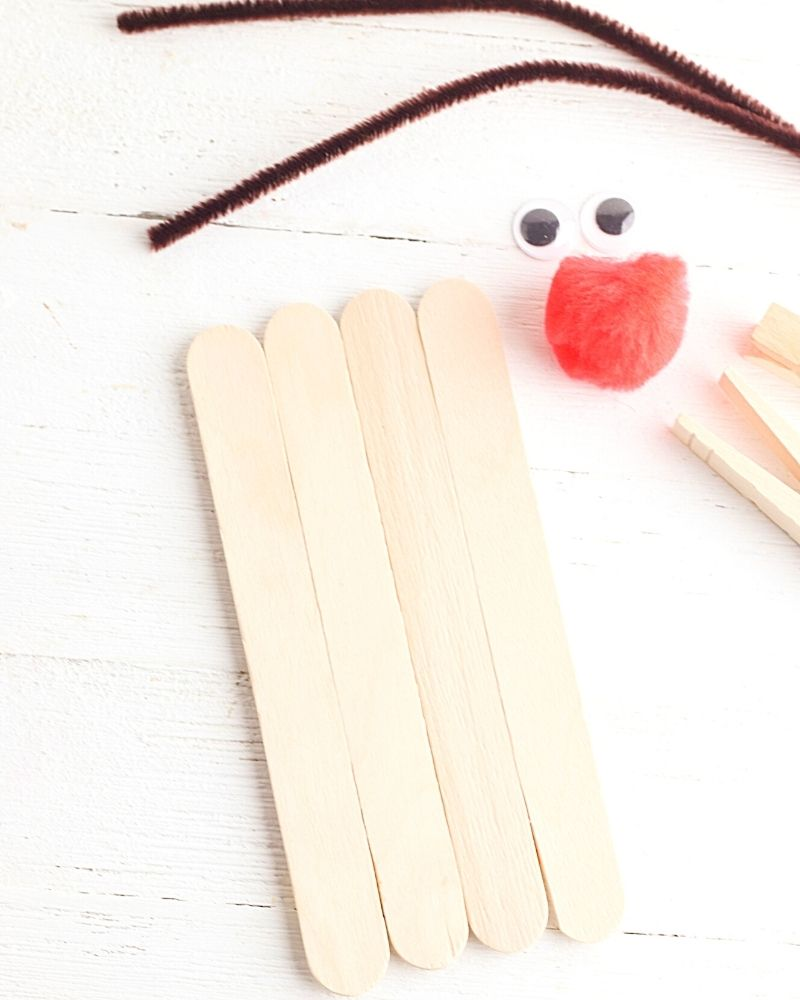 popsicle sticks lined up end to end