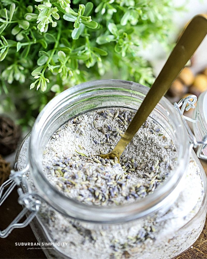 glass jar with bath salts
