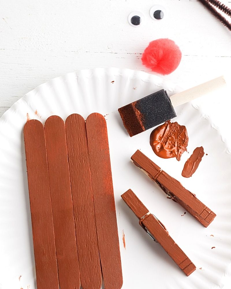 Popsicle sticks painted brown