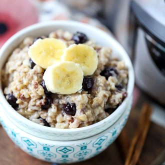 Blueberry Oatmeal in a bowl with bananas