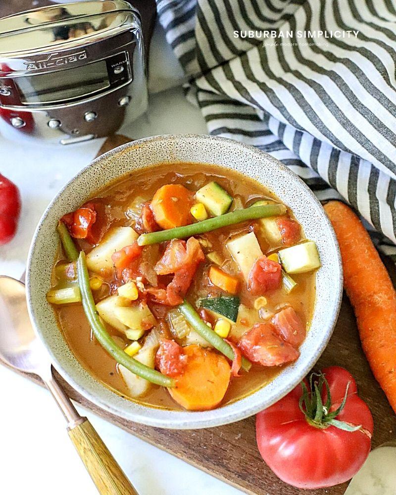 Veggie soup in a bowl