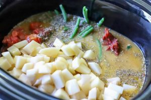 Vegetable for soup in a slow cooker