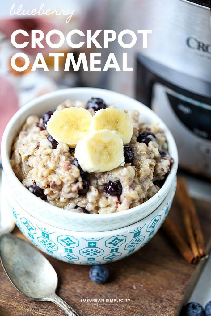 Enjoy an easy and healthy overnight breakfast recipe when you make Blueberry Crockpot Oatmeal. The whole family will love this slow-cooked oatmeal bursting with blueberries!