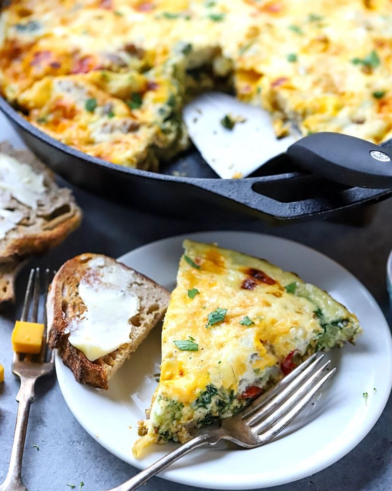 slice of frittata on a plate.
